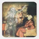 Scrooge y el fantasma de Marley Calcomanías Cuadradass