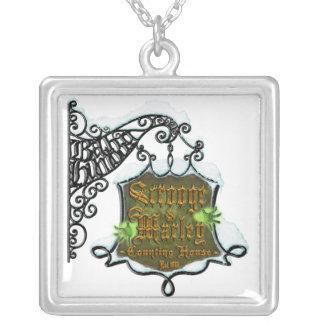 ScroogeHauntedSign Square Pendant Necklace