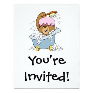 Scrub a Dub Bath Time Bear 4.25x5.5 Paper Invitation Card