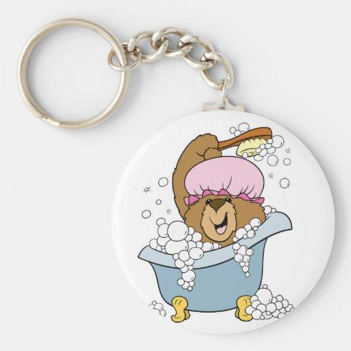 Scrub a Dub Bath Time Bear Basic Round Button Keychain