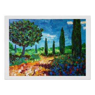 scrubland in Provence Poster