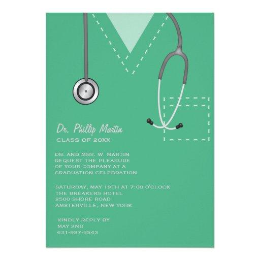Scrubs Green Medical Graduation Invitation