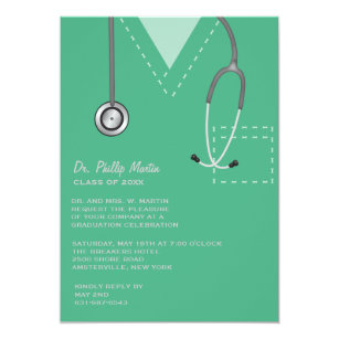 Hospital invitations announcements zazzle scrubs green medical graduation invitation stopboris