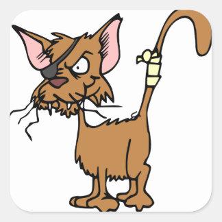Scruffy Cat Square Stickers