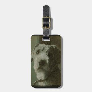 Scruffy Dog Antique Photo Bag Tag