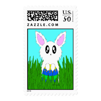 Scruffy Easter Bunny Rabbit with Egg Postage Stamp