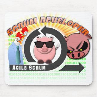 Scrum Developer Mousepad - Agile, w/chickens, pigs