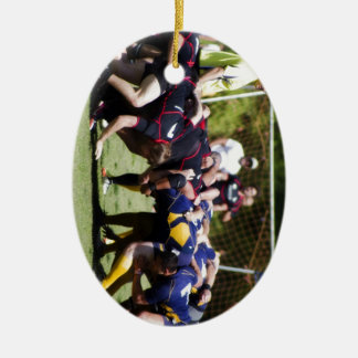 Scrum Double-Sided Oval Ceramic Christmas Ornament