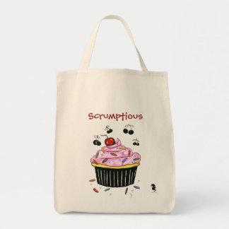 Scrumptious Cupcake grocery tote Bag