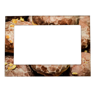 Scrumptious Nutty Glazed Donuts Magnetic Picture Frame