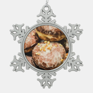 Scrumptious Nutty Glazed Donuts Snowflake Pewter Christmas Ornament