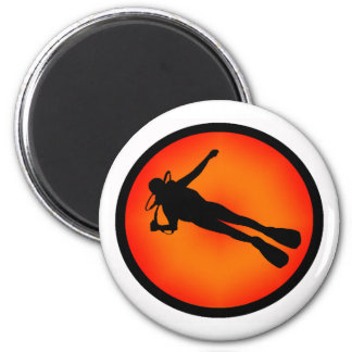 SCUBA AT DUSK 2 INCH ROUND MAGNET