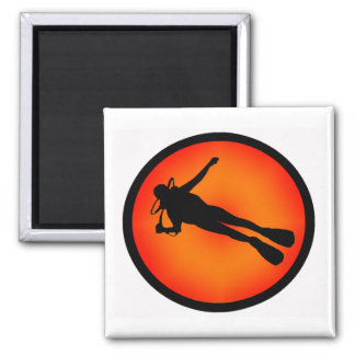 SCUBA AT DUSK 2 INCH SQUARE MAGNET