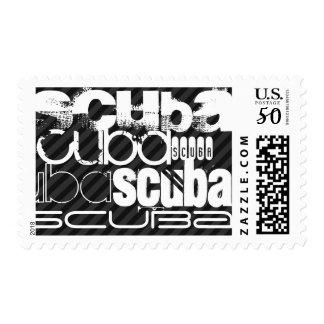 Scuba; Black & Dark Gray Stripes Postage