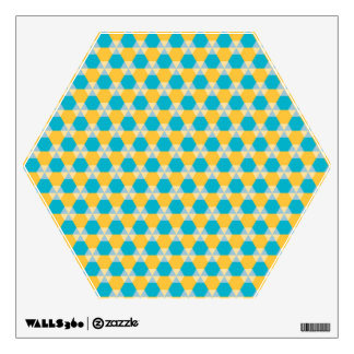 Scuba Blue and Yellow Triangle-Hex Wall Decal