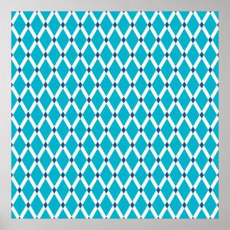 Scuba Blue Diamonds-White Frames Poster