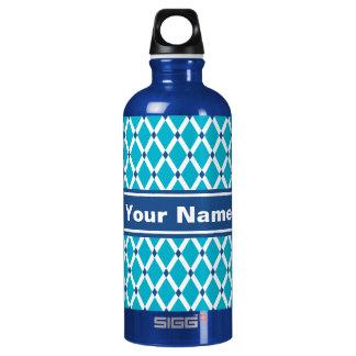 Scuba Blue Diamonds-White Frames Water Bottle