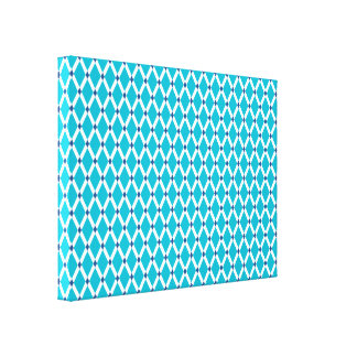 Scuba Blue Diamonds-White Frames Wrapped Canvas