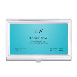 Scuba Blue Elegant Monogram Business Card Case