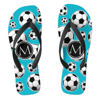 Scuba Blue Soccer Ball Pattern and Monogram Flip Flops