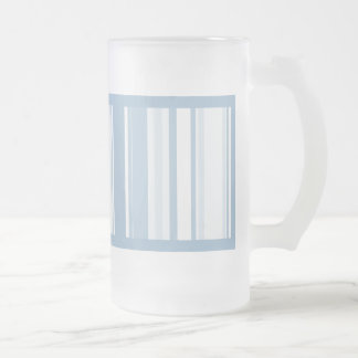 Scuba Blue Stripes Varied Sizes Geometric Pattern Frosted Glass Beer Mug