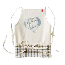 Scuba Blue Stripes Varied Sizes Geometric Pattern Zazzle HEART Apron