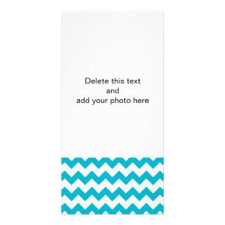 Scuba Blue White Chevron Pattern Photo Card