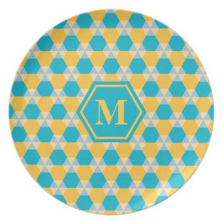 Scuba Blue/Yellow Triangle-Hex Melamine Plate