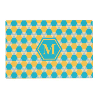 Scuba Blue/Yellow Triangle-Hex Placemat