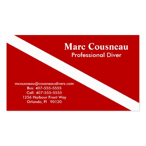 Scuba Business - Personal Card - Dark Red Business Card Templates