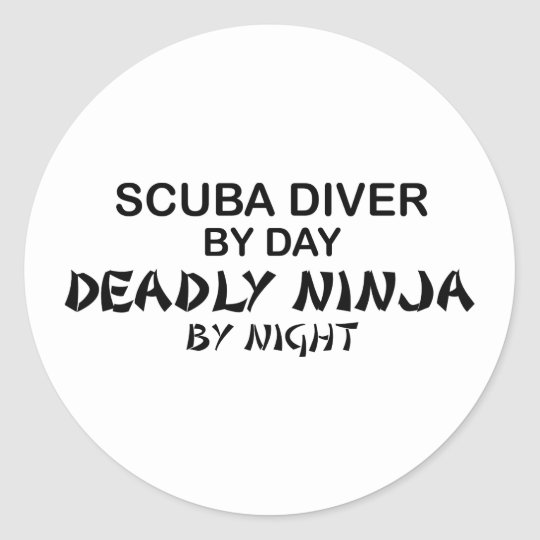 Scuba Deadly Ninja by Night Classic Round Sticker