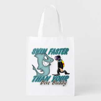 Scuba Dive Buddy Fun Design With Shark And Diver Reusable Grocery Bags