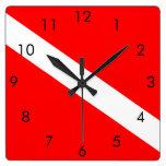 Scuba Dive Flag Square Clock