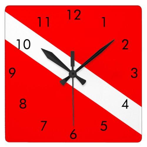Scuba Dive Flag Square Wall Clock