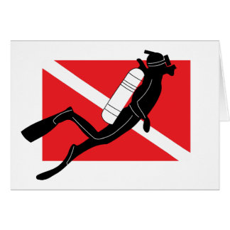SCUBA Dive Flag With Male SCUBA Diver Card