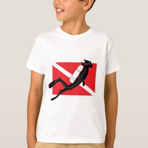 SCUBA Dive Flag With Male SCUBA Diver Kids T-Shirt