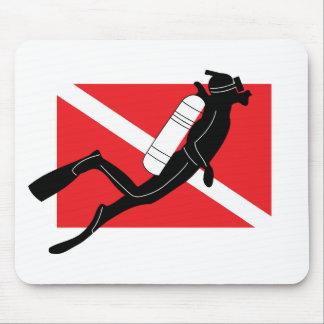 SCUBA Dive Flag With Male SCUBA Diver Mouse Pad