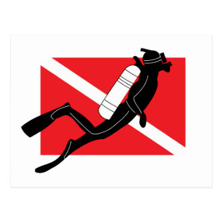 SCUBA Dive Flag With Male SCUBA Diver Postcard