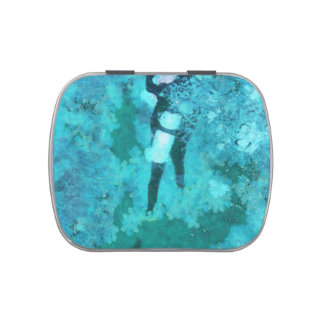 Scuba diver and bubbles jelly belly candy tins