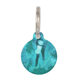 Scuba diver and bubbles pet ID tag
