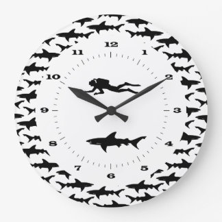 Scuba Diver and School of Sharks Danger Zone Wall Clocks