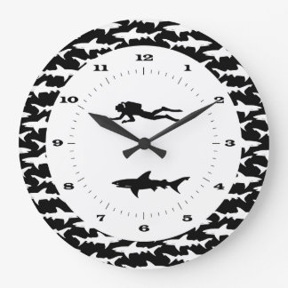 Scuba Diver and School of Sharks Danger Zone Large Clock