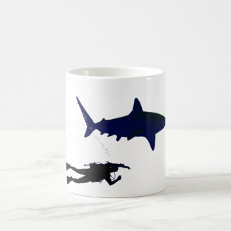 SCUBA diver and shark Coffee Mug