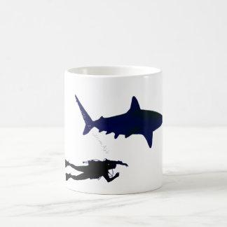 SCUBA diver and shark Coffee Mugs