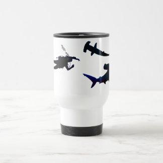SCUBA diver and sharks mug