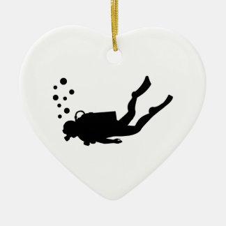 Scuba diver bubbles Double-Sided heart ceramic christmas ornament