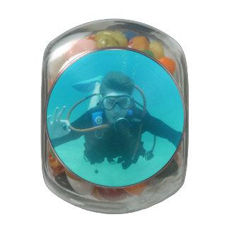 Scuba Diver Glass Jar