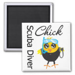 Scuba Diver Chick Refrigerator Magnets