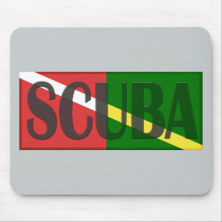SCUBA DIVER COMBINED RED NITROX GREEN DIVERS FLAG MOUSE PAD
