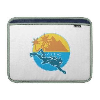 Scuba Diver Diving Island Retro MacBook Sleeves